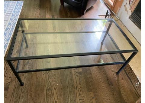PIER ONE GLASS/METAL COFFEE TABLES